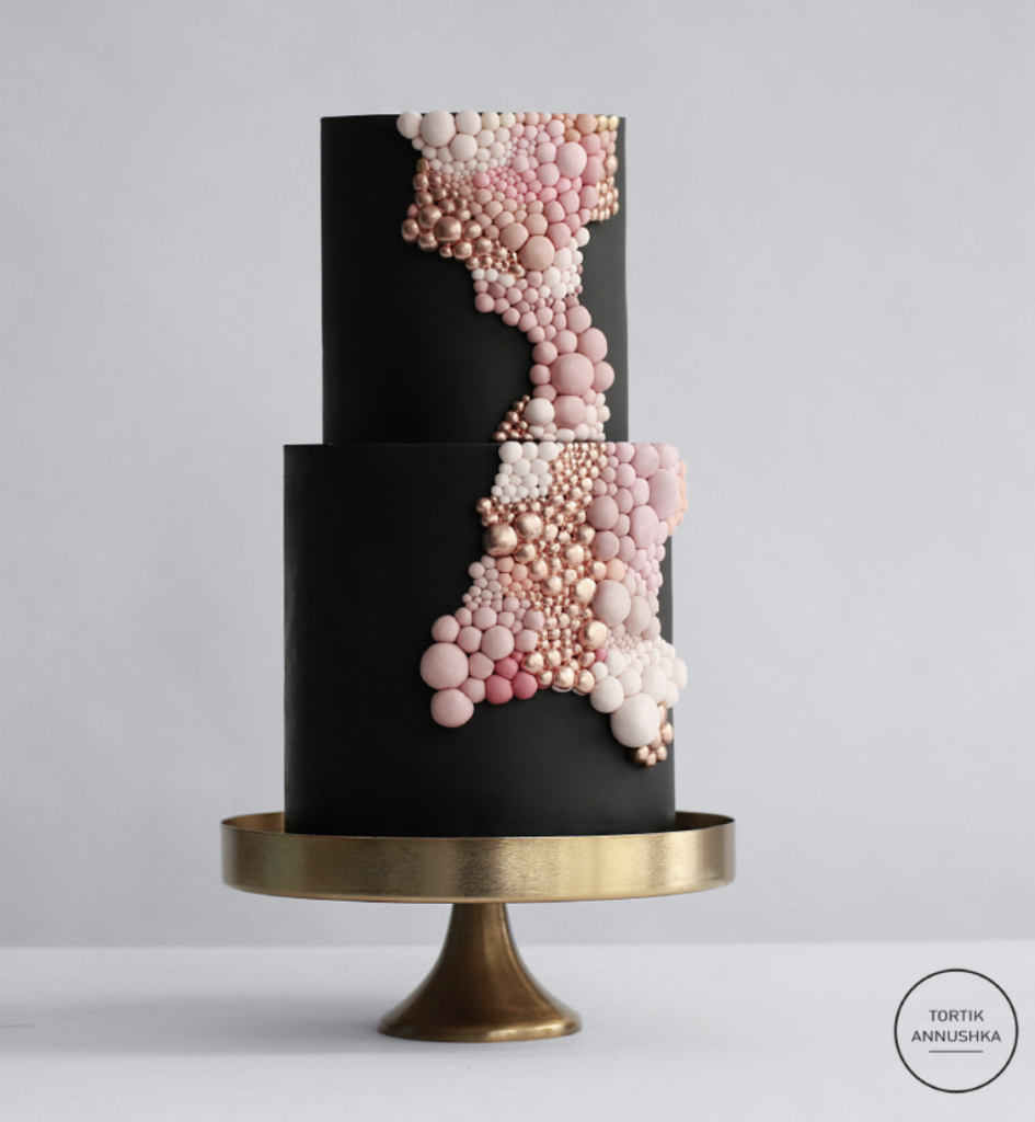 Black and pink wedding cake